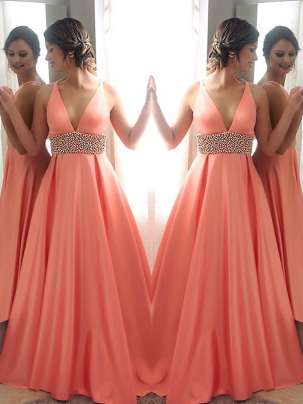 Watermelon Satin V-neck A-Line/Princess Sweep/Brush Train Dresses