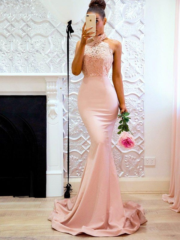 Pearl Pink Satin Halter Trumpet/Mermaid Sweep/Brush Train Dresses
