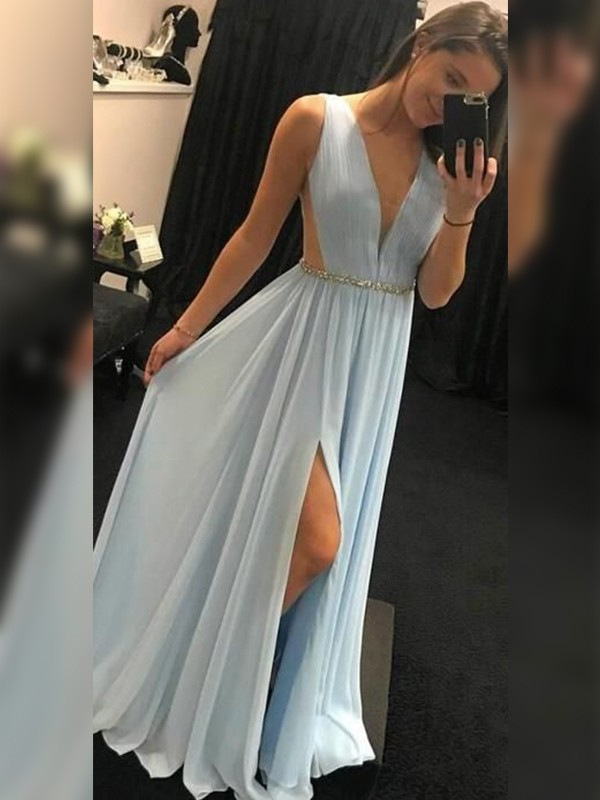 Light Sky Blue Chiffon V-neck A-Line/Princess Floor-Length Dresses