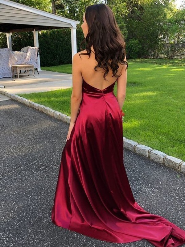 Burgundy Silk like Satin Halter A-Line/Princess Sweep/Brush Train Dresses