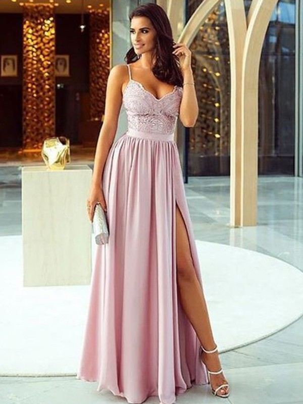 Champagne Silk like Satin Spaghetti Straps A-Line/Princess Floor-Length Dresses