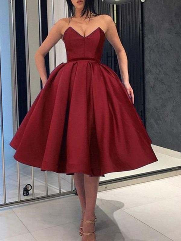 Burgundy Satin Sweetheart Ball Gown Knee-Length Dresses