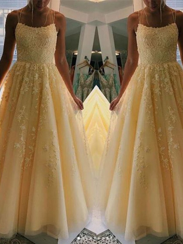 Yellow Tulle Spaghetti Straps A-Line/Princess Floor-Length Dresses
