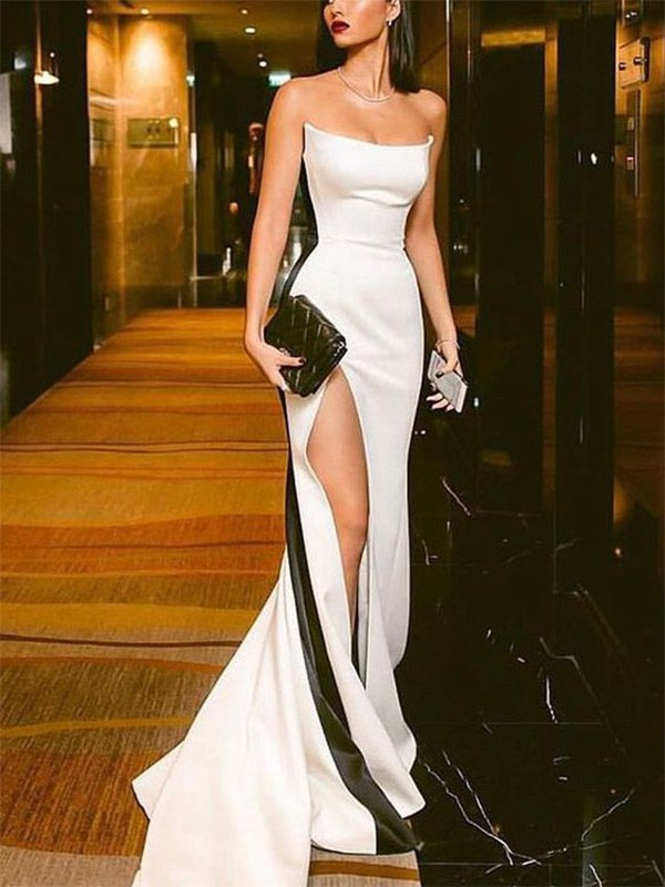 White Satin Strapless Sheath/Column Sweep/Brush Train Dresses