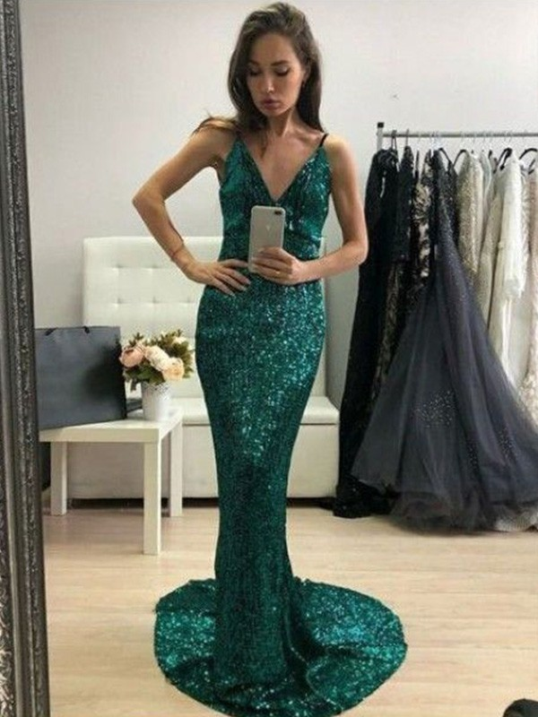 Dark Green Sequins V-neck Trumpet/Mermaid Sweep/Brush Train Dresses