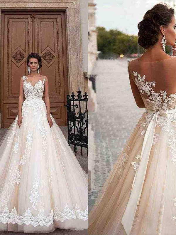 Ivory Tulle Scoop A-Line/Princess Court Train Wedding Dresses