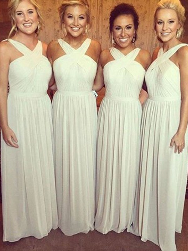Silver Chiffon Halter A-Line/Princess Floor-Length Bridesmaid Dresses