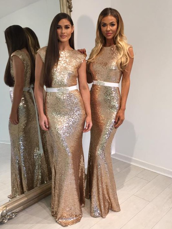 Gold Sequins Bateau Sheath/Column Floor-Length Bridesmaid Dresses