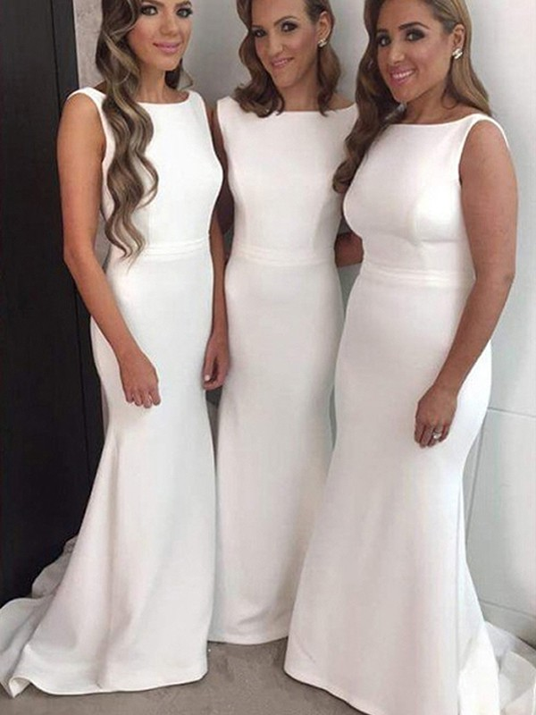 White Silk like Satin Bateau Sheath/Column Sweep/Brush Train Bridesmaid Dresses