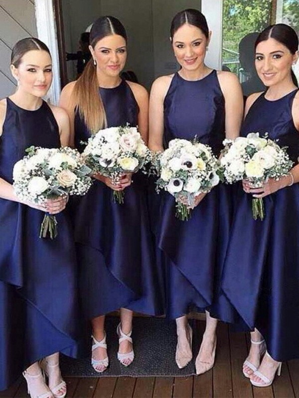 Dark Navy Satin Scoop A-Line/Princess Asymmetrical Bridesmaid Dresses