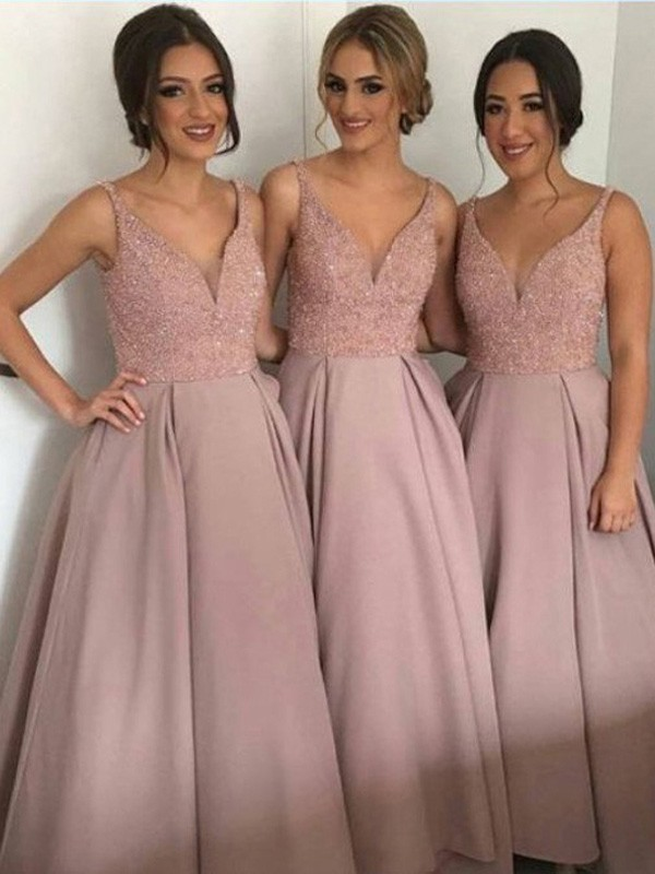 Pink Taffeta V-neck A-Line/Princess Floor-Length Bridesmaid Dresses