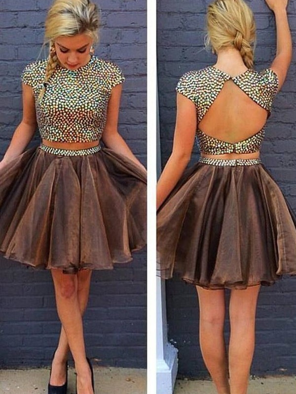 Brown Organza Scoop A-line/Princess Short/Mini Dresses
