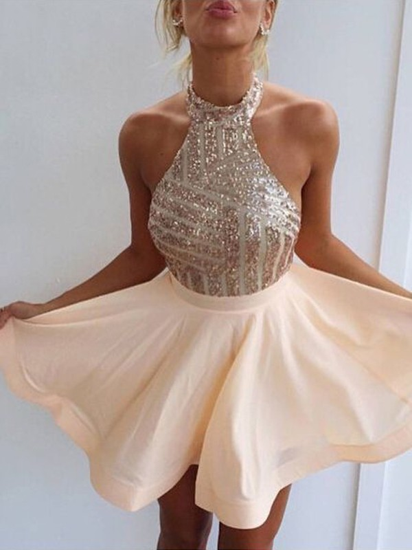 Champagne Satin Halter A-line/Princess Short/Mini Dresses
