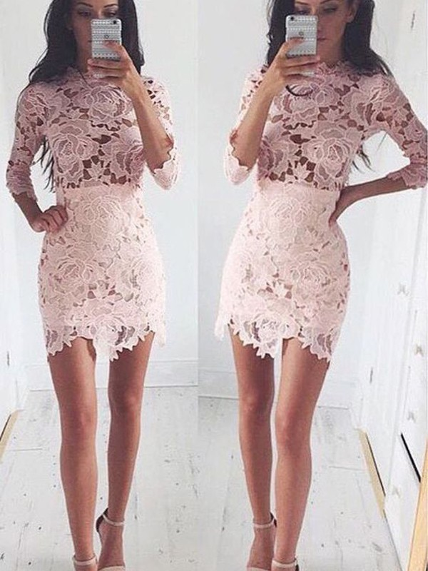 Pink Lace Scoop A-line/Princess Short/Mini Dresses