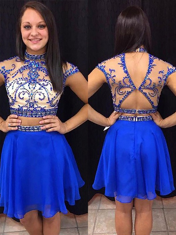 Royal Blue Chiffon High Neck A-line/Princess Short/Mini Dresses
