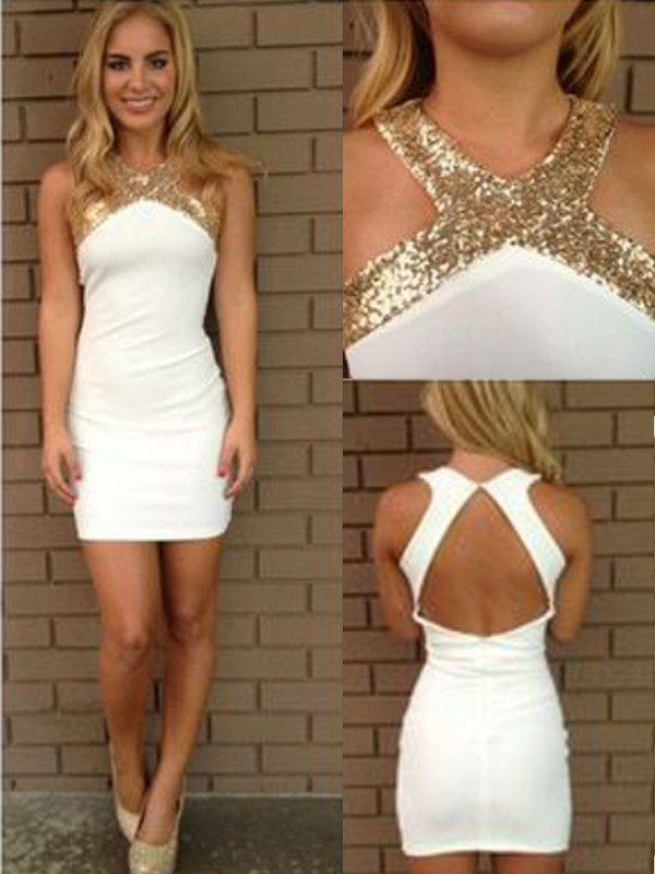 White Satin Halter A-line/Princess Short/Mini Dresses
