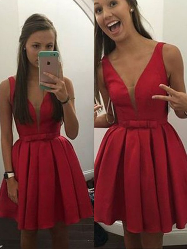Red Satin V-neck A-line/Princess Short/Mini Dresses