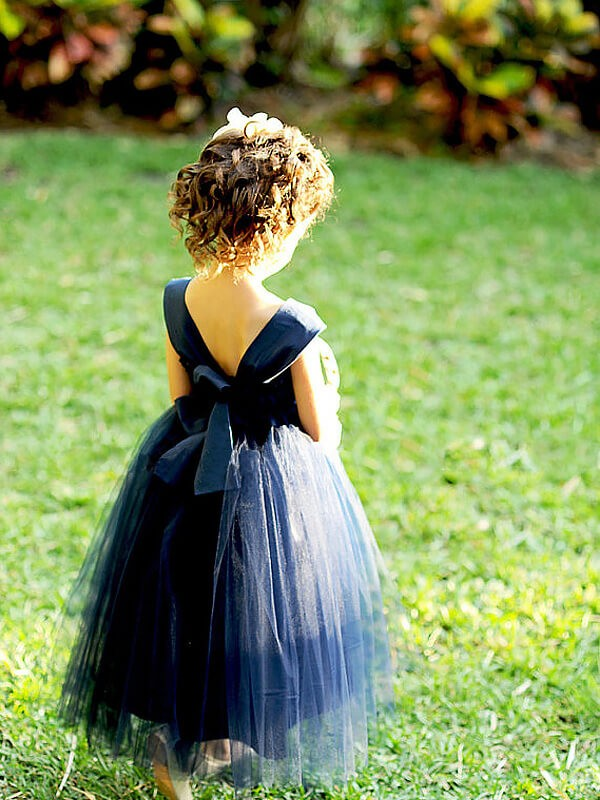 Dark Navy Tulle Sweetheart Ball Gown Tea-Length Flower Girl Dresses