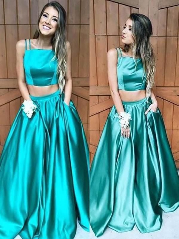 Dark Green Satin Square A-Line/Princess Floor-Length Dresses