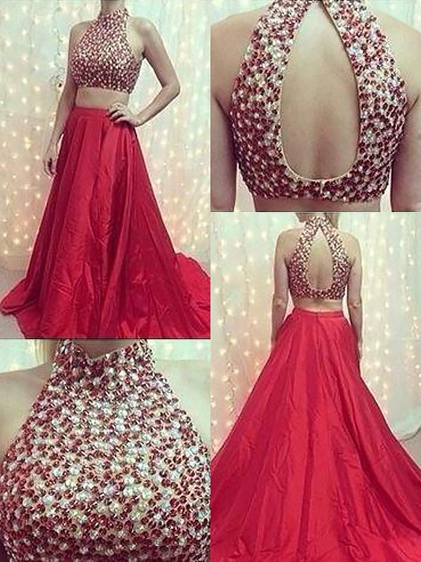 Red Satin High Neck A-Line/Princess Sweep/Brush Train Dresses