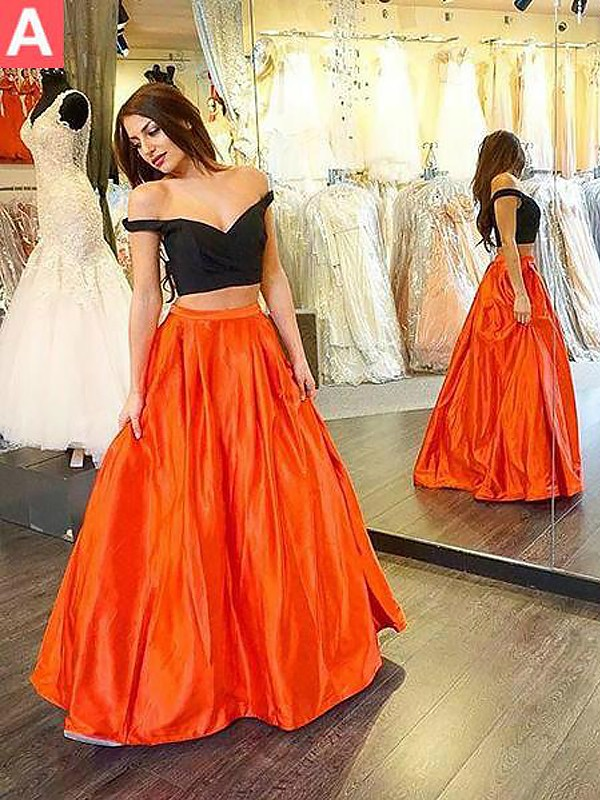 Orange Taffeta Off-the-Shoulder A-Line/Princess Floor-Length Dresses