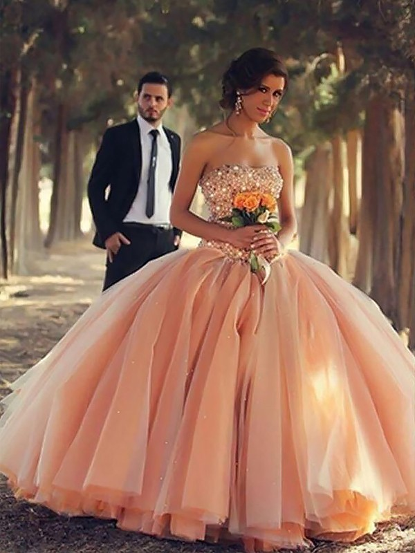 Orange Tulle Strapless Ball Gown Floor-Length Dresses