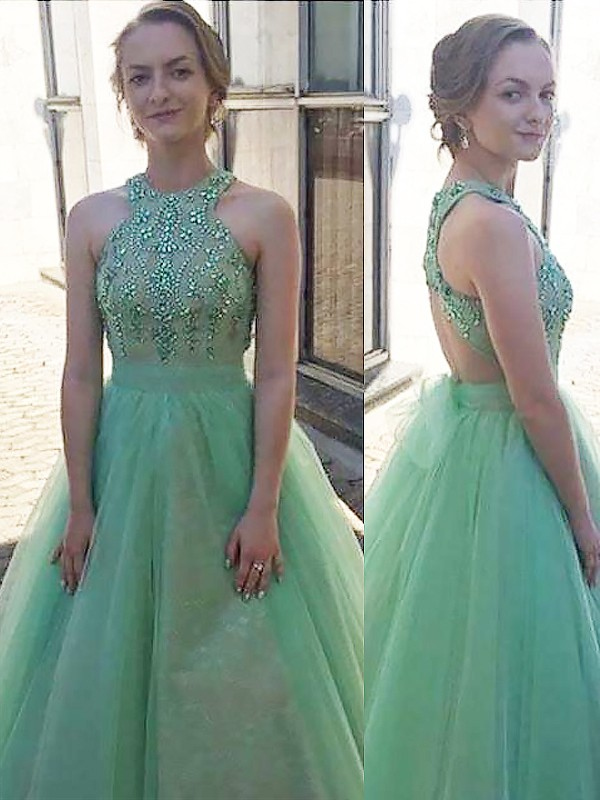 Green Tulle Halter Ball Gown Floor-Length Dresses