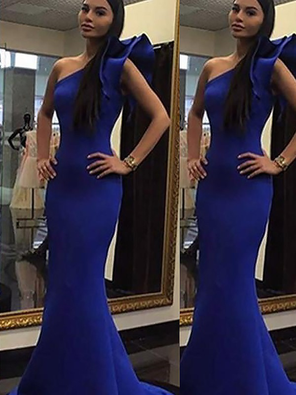 Royal Blue Satin One-Shoulder Trumpet/Mermaid Sweep/Brush Train Dresses