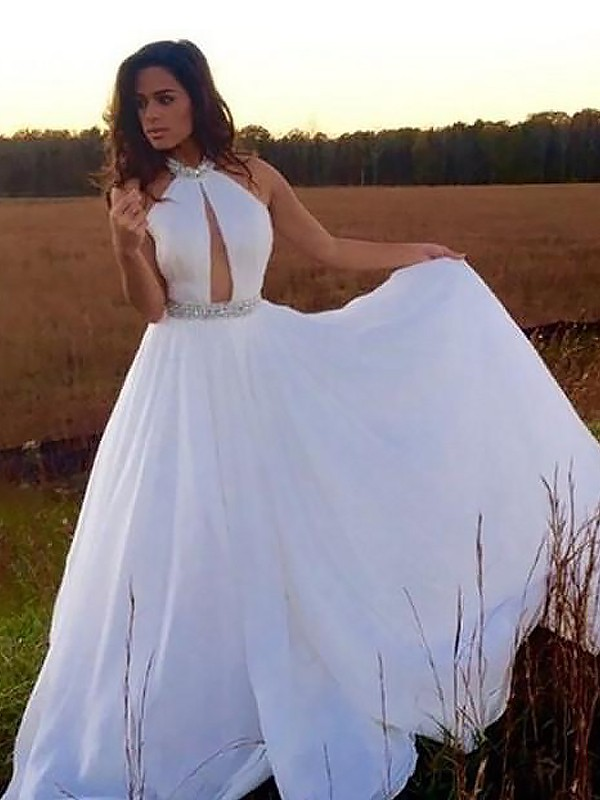 White Chiffon Halter A-Line/Princess Floor-Length Dresses