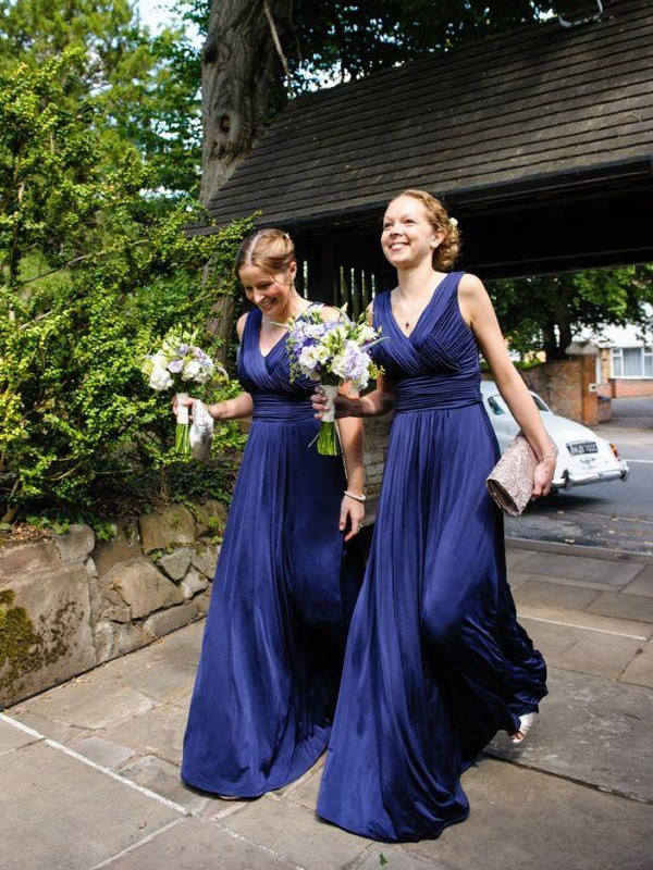 Royal Blue Chiffon V-neck A-Line/Princess Floor-Length Bridesmaid Dresses