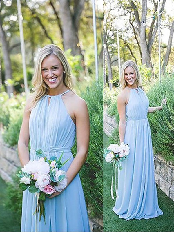 Light Sky Blue Chiffon Halter A-Line/Princess Floor-Length Bridesmaid Dresses