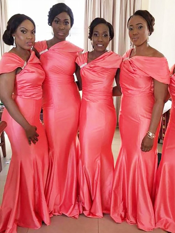 Watermelon Satin Off-the-Shoulder Trumpet/Mermaid Floor-Length Bridesmaid Dresses