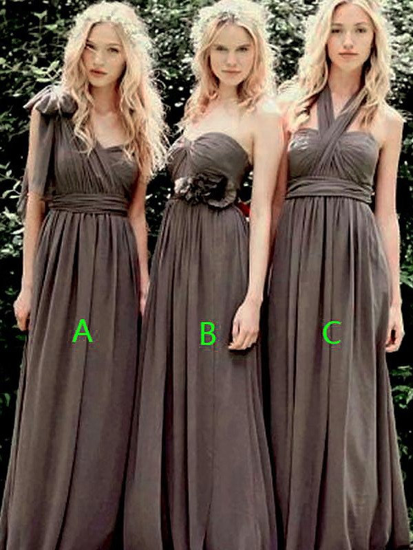 Brown Chiffon A-Line/Princess Floor-Length Bridesmaid Dresses
