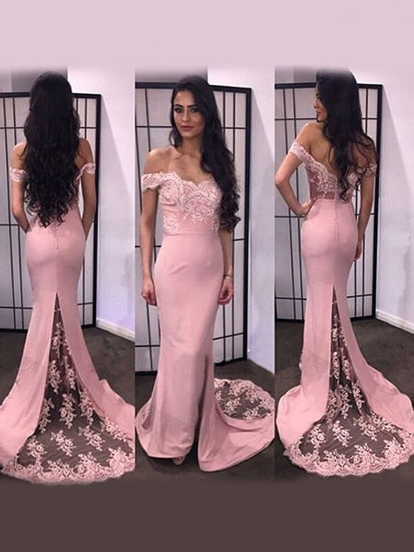 Pink Satin Off-the-Shoulder Trumpet/Mermaid Sweep/Brush Train Dresses