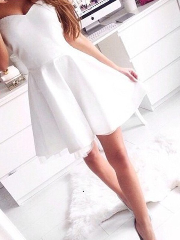 White Satin Sweetheart A-line/Princess Short/Mini Dresses