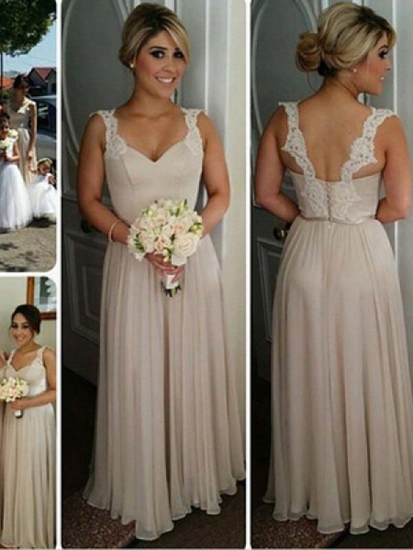 Champagne Chiffon Sweetheart A-Line/Princess Floor-Length Bridesmaid Dresses