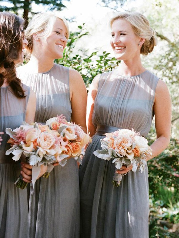 Grey Chiffon Scoop A-Line/Princess Floor-Length Bridesmaid Dresses