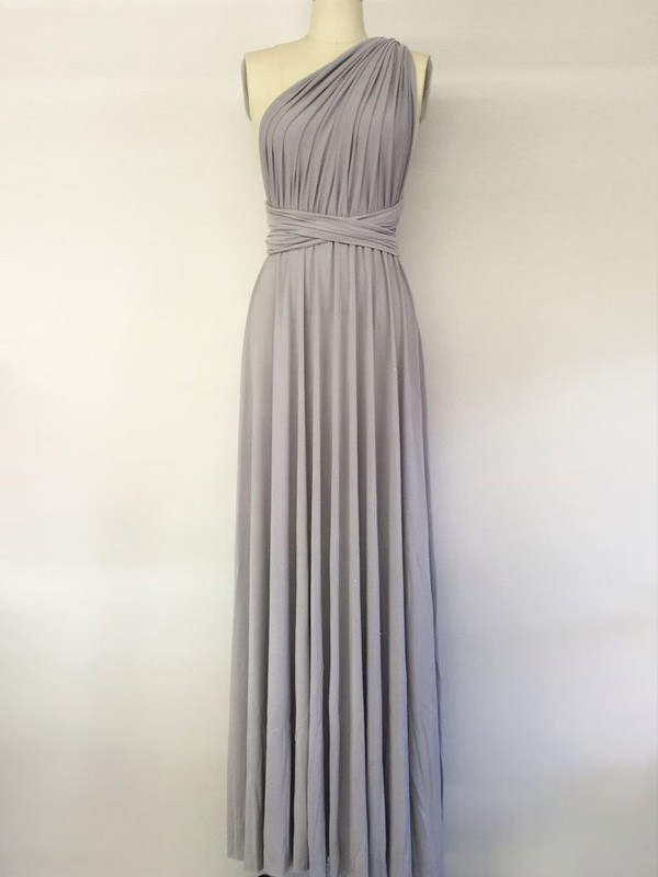 Grey Chiffon One-Shoulder A-Line/Princess Floor-Length Bridesmaid Dresses