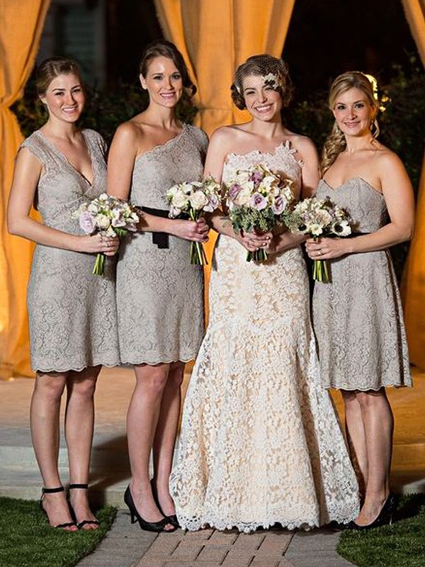 Grey Lace Sheath/Column Floor-Length Bridesmaid Dresses