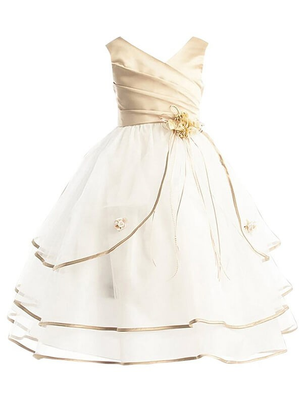 Ivory Tulle V-neck A-line/Princess Ankle-Length Flower Girl Dresses