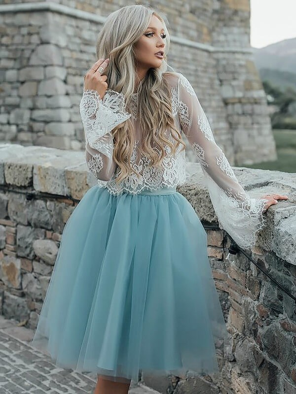Light Sky Blue Tulle Scoop A-line/Princess Short/Mini Homecoming Dresses