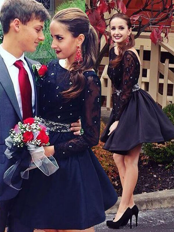 Black Satin Scoop A-line/Princess Short/Mini Homecoming Dresses
