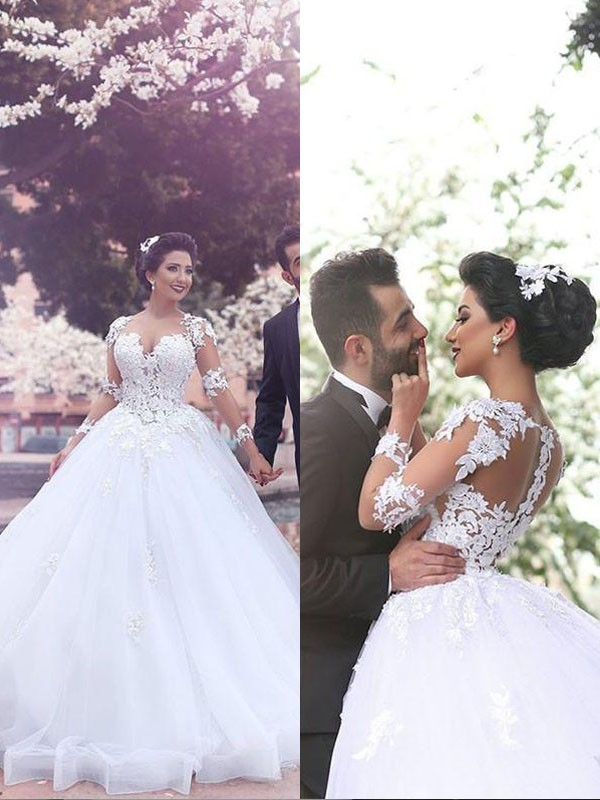 Ivory Tulle Sweetheart Ball Gown Court Train Wedding Dresses