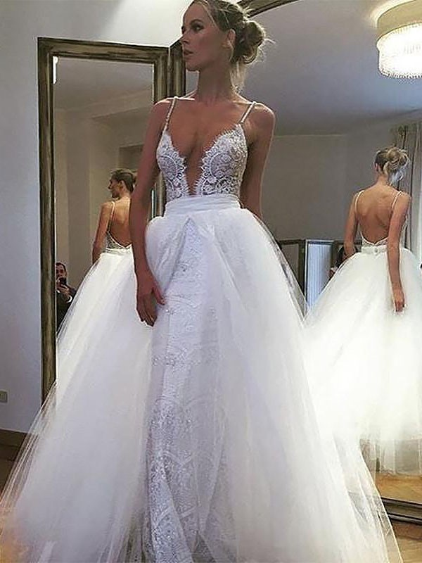 Ivory Tulle Spaghetti Straps A-Line/Princess Floor-Length Wedding Dresses