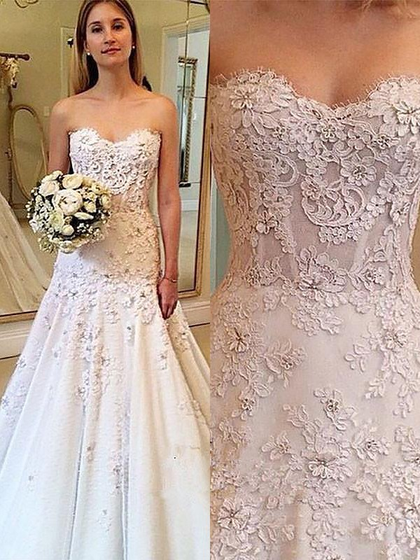 Ivory Lace Sweetheart A-Line/Princess Court Train Wedding Dresses