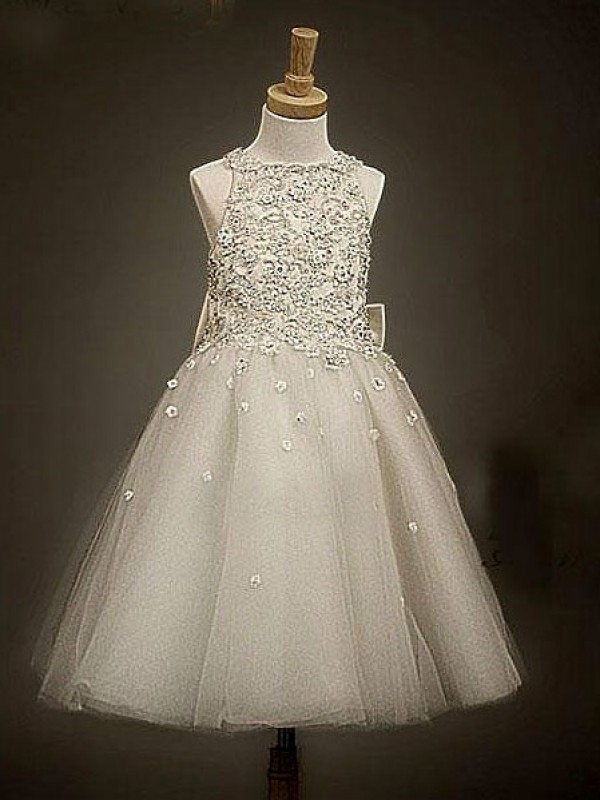 Champagne Tulle Scoop A-Line/Princess Ankle-Length Flower Girl Dresses