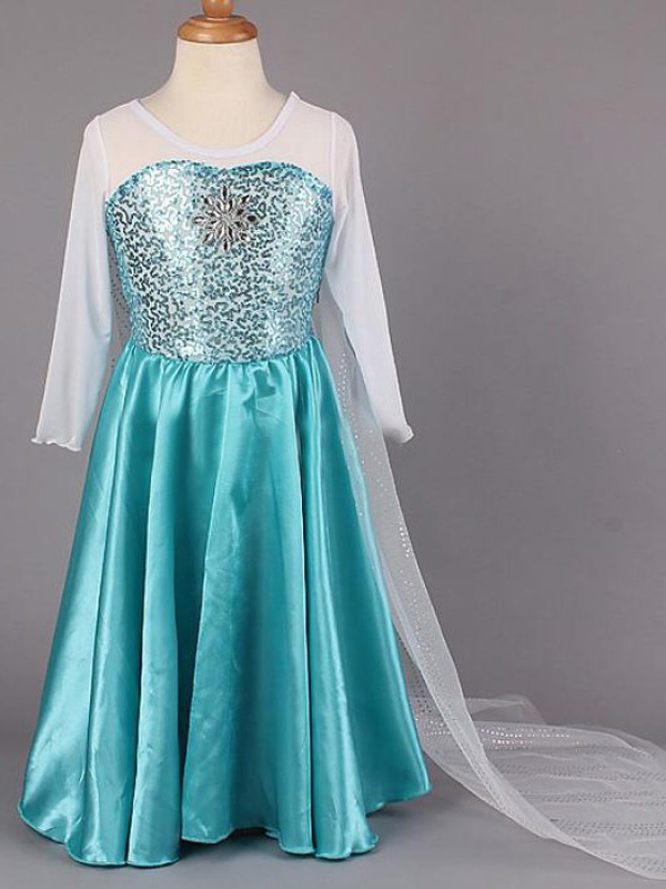 Blue Satin Scoop A-Line/Princess Floor-Length Flower Girl Dresses