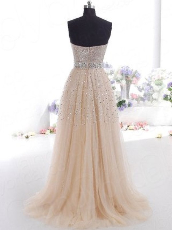 Champagne Tulle Sweetheart A-Line/Princess Floor-Length Dresses