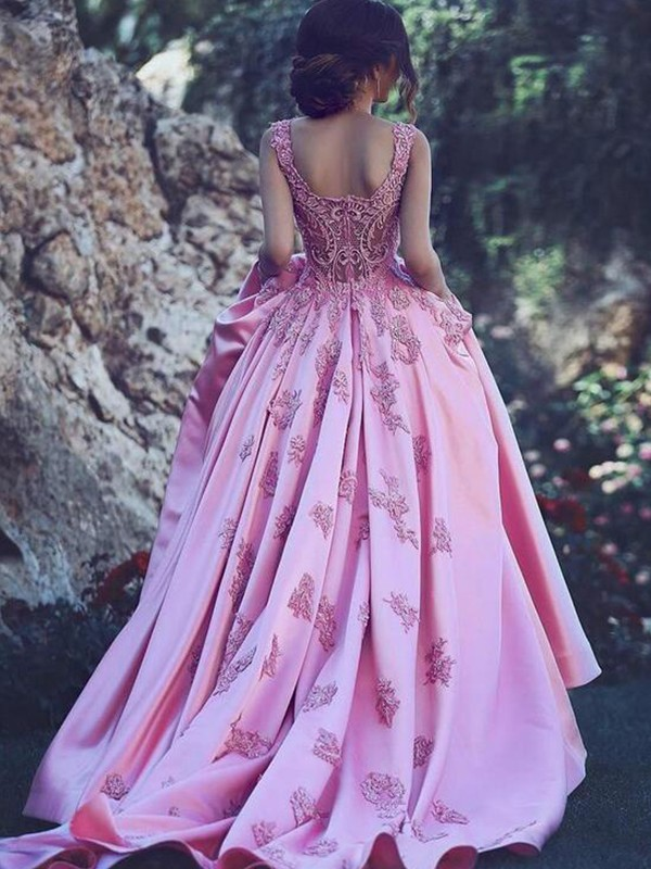 Pink Satin Sweetheart A-Line/Princess Sweep/Brush Train Dresses