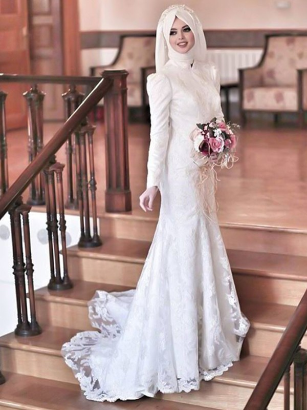 Ivory Tulle High Neck Trumpet/Mermaid Sweep/Brush Train Wedding Dresses